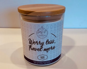 Worry less, Travel More scented travel candle, travel gift, loves to travel, plane, soy blend, wood wick, traveler