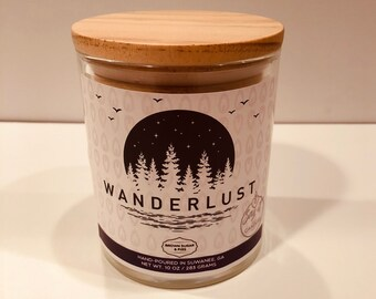 Wanderlust Travel Gift, Scented Candle, Wood wick, loves to travel, traveler gift, trip, abroad, destination
