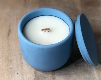 Cement Candle, Concrete Candle, Modern Farmhouse Candle, Minimalist Decor, Scented Wood Wick Candle, Stone Candle, Housewarming Gift, Luxury