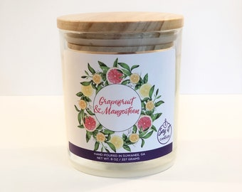 Grapefruit & Mangosteen Scented Candle, Wooden Wick Candle, Soy Blend Wax Candle, Wood Wick, Best Friend Gift, Relaxation Gift, Housewarming