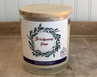 Birchwood Pine Scented Candle, Wooden Wick Candle, Soy Blend Wax Candle, Wood Wick, Best Friend Gift, Christmas Scent, Housewarming