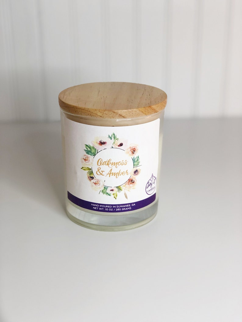 Oakmoss & Amber Scented Candle Wooden Wick Soy Blend Wax image 0