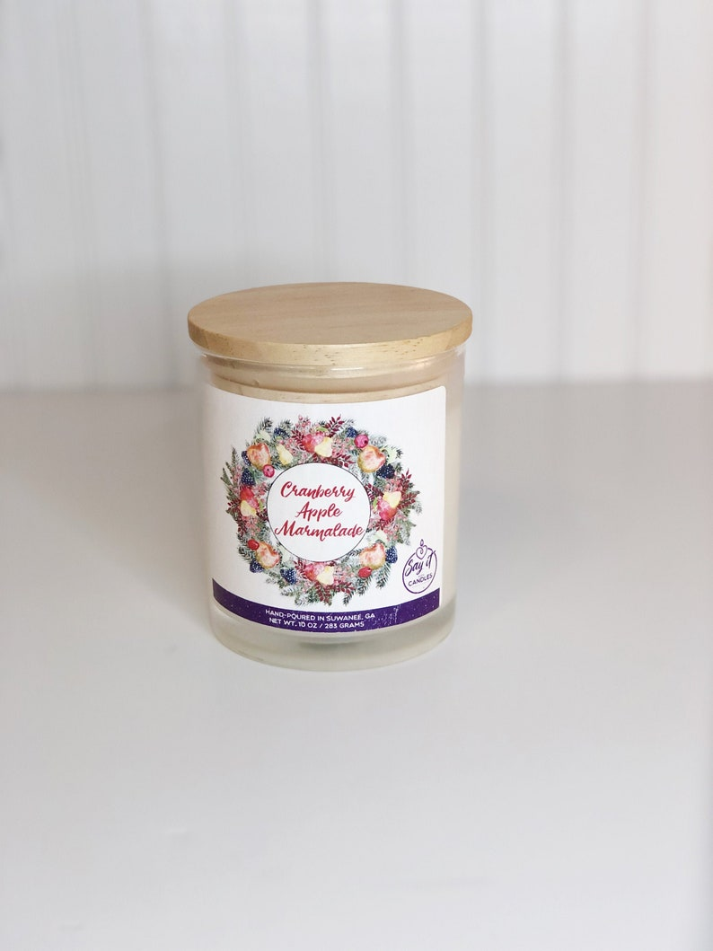 Cranberry Apple Marmalade Scented Candle Wooden Wick Candle image 0