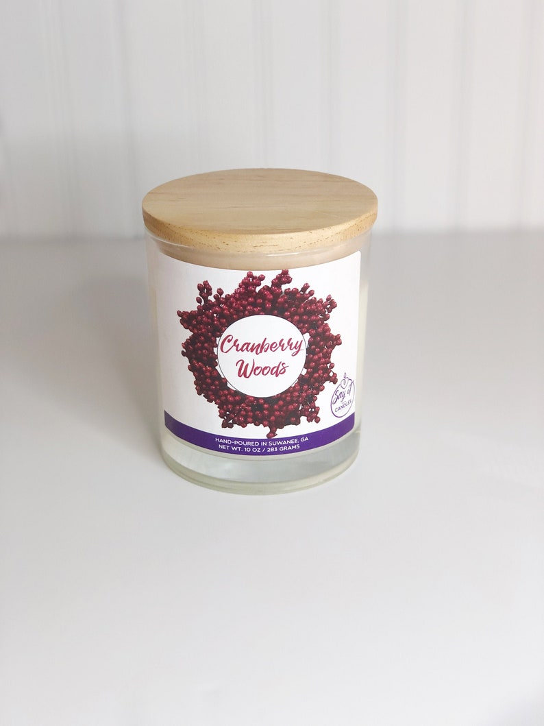 Cranberry Woods Scented Candle Wooden Wick Candle Soy Blend image 0