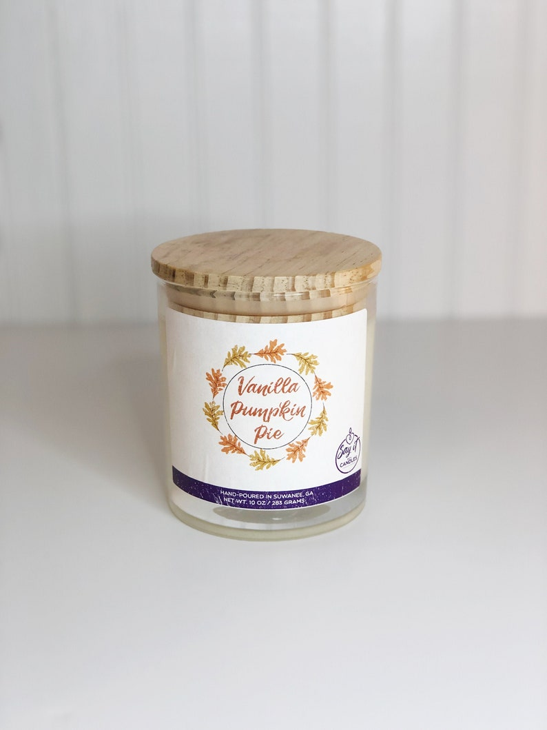 Vanilla Pumpkin Pie Scented Candle Wooden Wick Candle Soy image 0