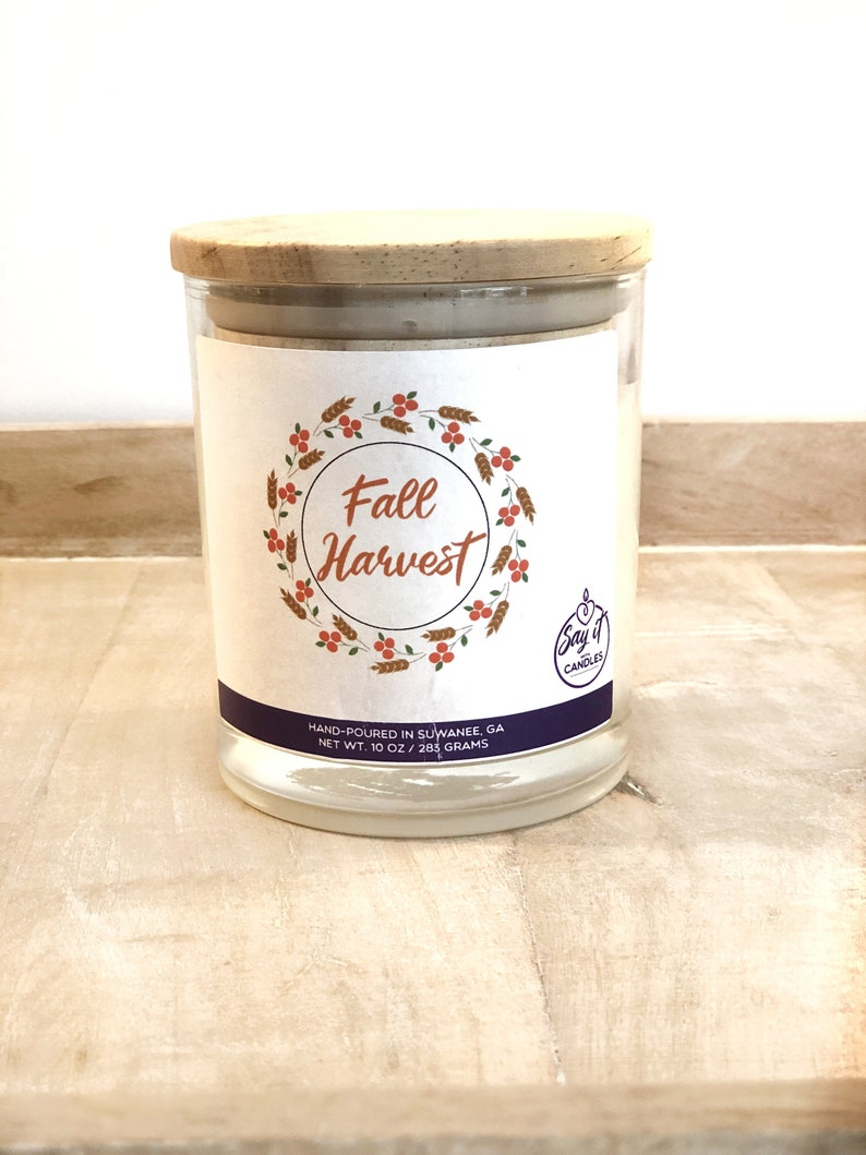 Fall Harvest Scented Candle Wooden Wick Candle Soy Blend Wax image 0