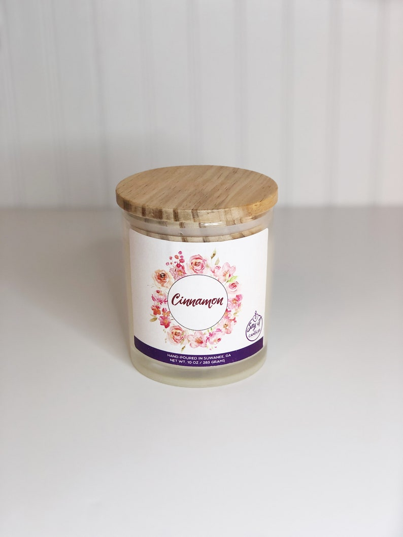 Cinnamon Scented Candle Wooden Wick Candle Soy Blend Wax image 0