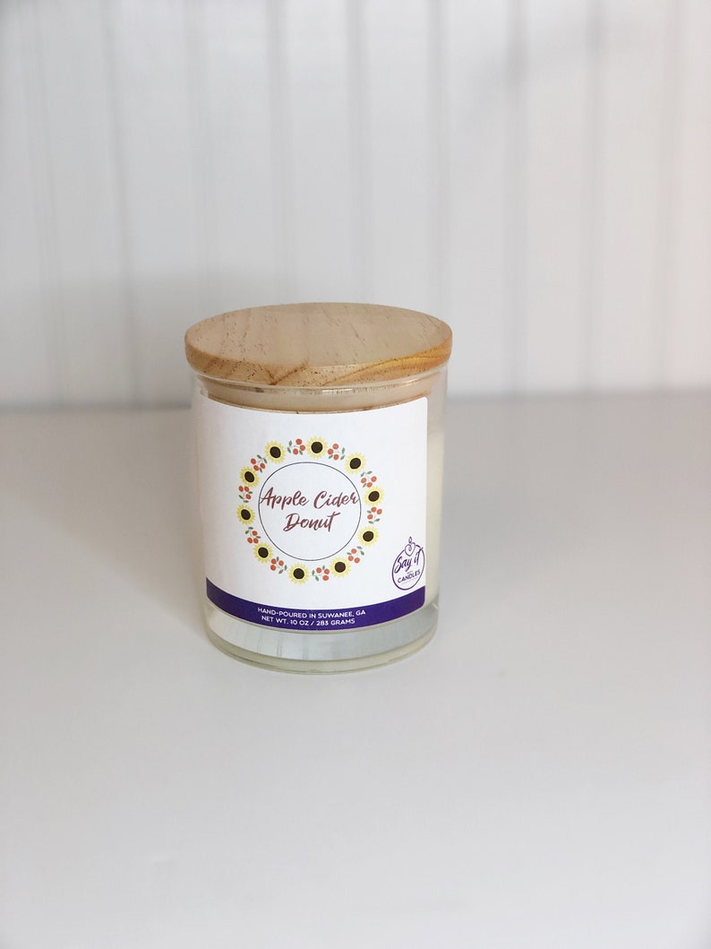 Apple Cider Donut Scented Candle Wooden Wick Candle Soy image 0