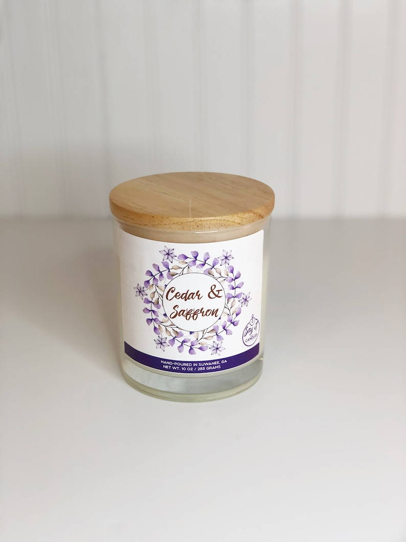 Cedar & Saffron Scented Candle Wooden Wick Soy Blend Wax image 0