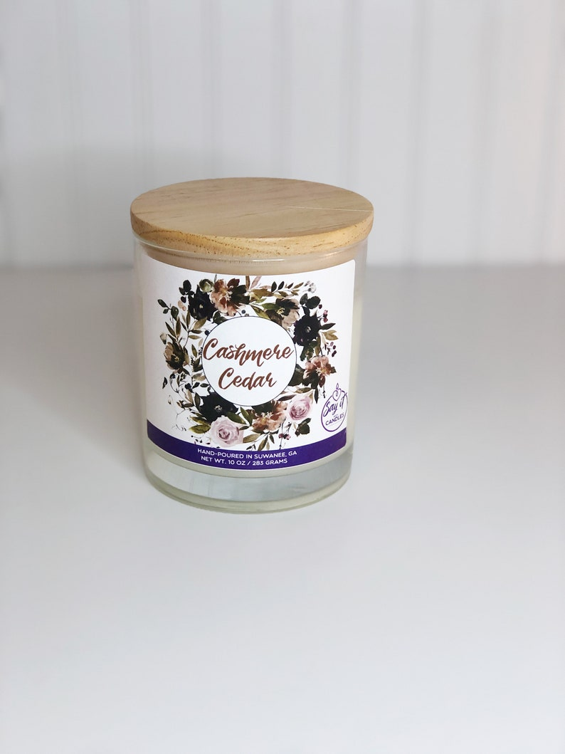Cashmere Cedar Scented Candle Wooden Wick Candle Soy Blend image 0