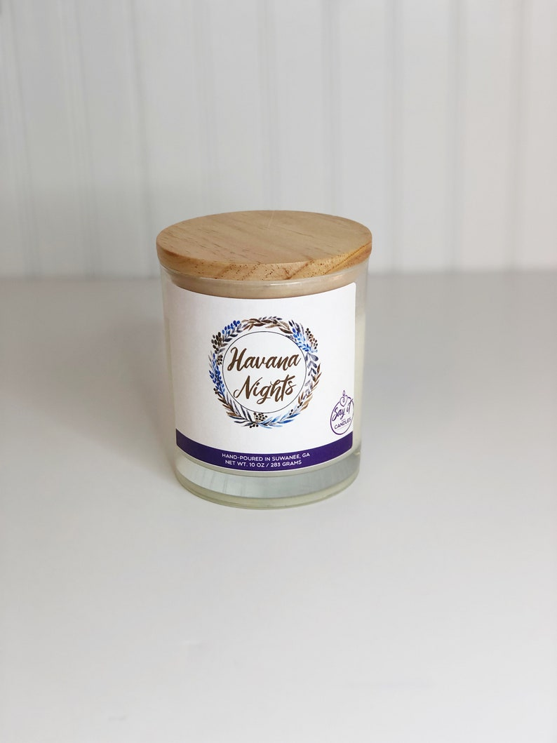 Havana Nights Scented Candle Wooden Wick Soy Blend Wax image 0