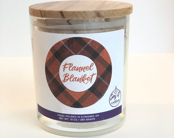 Flannel Blanket Scented Candle, Wooden Wick, Soy Blend Wax Candle, Wood Wick, Best Friend Gift, Relaxation Gift, Birthday, Housewarming