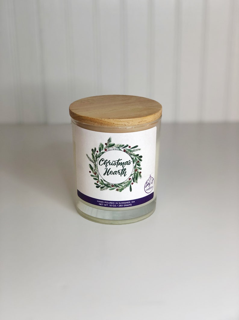 Christmas Hearth Scented Candle Wooden Wick Soy Blend Wax image 0