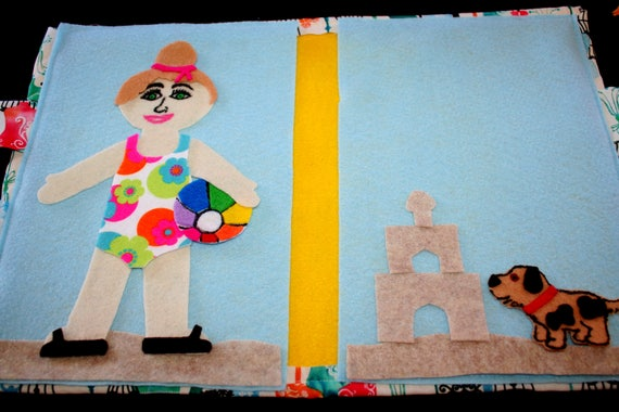 Dress Up Girl (off white) Book/Portfolio - Paper Doll - Felt - Storytelling  - Travel