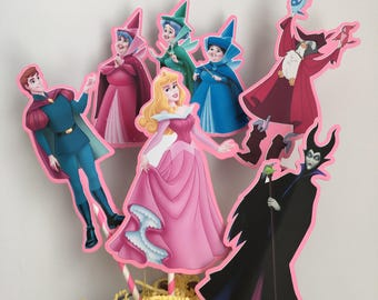 Sleeping Beauty Centerpiece Picks Set Of 5 Double Sided Cake Toppers Birthday Party Decorations Supplies Decor