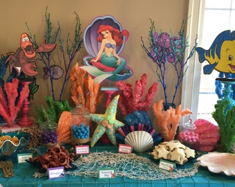 LITTLE MERMAID Set of 3 Centerpieces Ariel, Flounder, Sebastian (DOUBLE-sided) / Birthday Party / Decorations / Supplies / Decor
