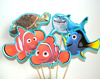 FINDING NEMO Centerpiece Picks Set of 5 (DOUBLE-sided)/Cake Toppers / Birthday Party / Decorations / Supplies / Decor