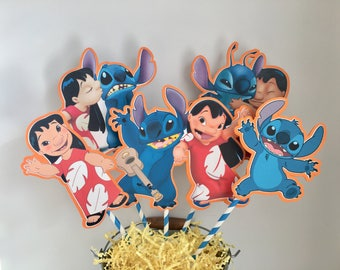 LILO AND STITCH Centerpiece Picks Set of 5 (Double-sided)/Cake Toppers / Birthday Party / Decorations / Supplies / Decor