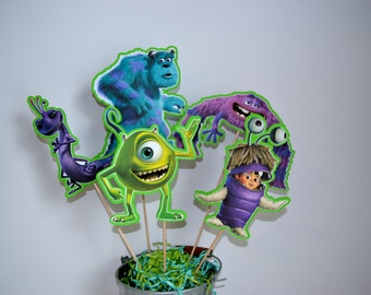 MONSTERS INC Centerpiece Picks Set of 5 (DOUBLE-sided)/Cake Toppers / Birthday Party / Decorations / Supplies / Decor