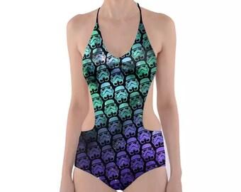 ea4cda6e6a Star Wars Swimsuit, Side Cut Out One Piece Stormtroopers Swimsuit,  Stormtroopers on Green & Purple Stars Bathing Suit, Star Wars Monokini