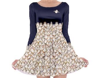 Star Wars Dress, Long Sleeve Porg Skater Dress, Navy Porg Dress, Star Wars Skater Dress, The Last Jedi Dress