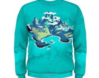 Peter Pan Sweatshirt, Neverland Sweatshirt, Neverland In Teal Watercolors Sweatshirt, Peter Pan Jumper, Neverland Jumper,