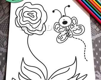 Kids Coloring Page Pages Butterfly Cute PDF Printables Doodle Art Sheets