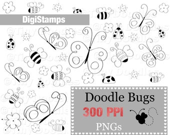 Bugs Clipart, Bugs Digital, Ladybug Digi Stamp, Butterfly, Bees, Doodles Clipart, Digital Stamps, Clipart,  Commercial Use, Digistamps