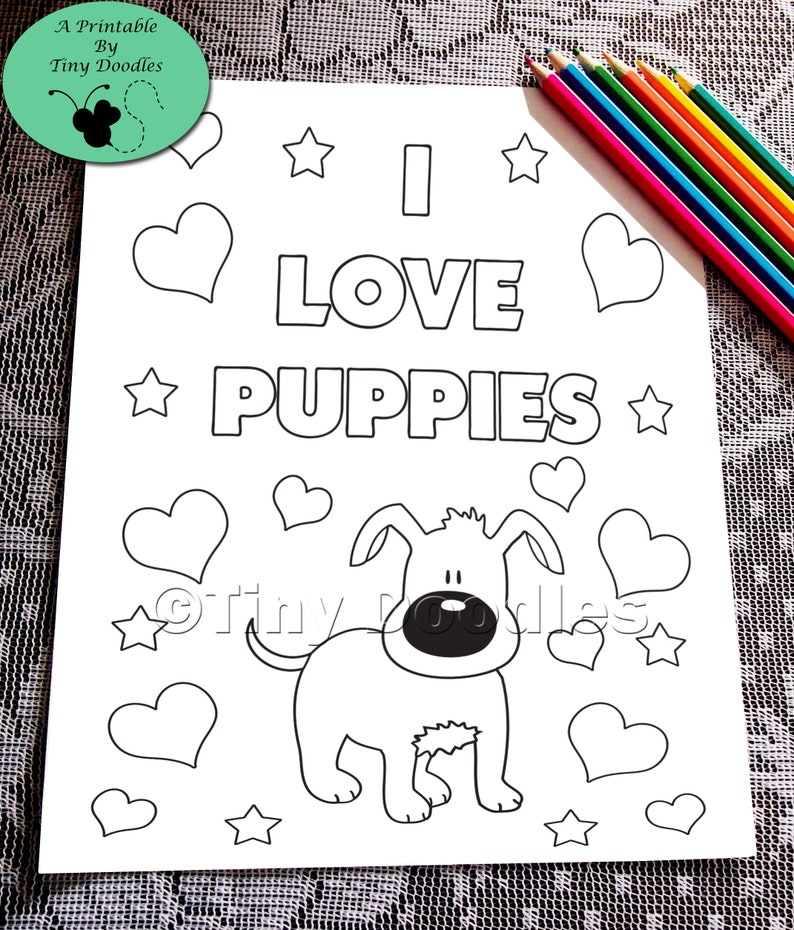 Puppy Coloring Dog Coloring Pages Pdf Coloring Page Kids Etsy