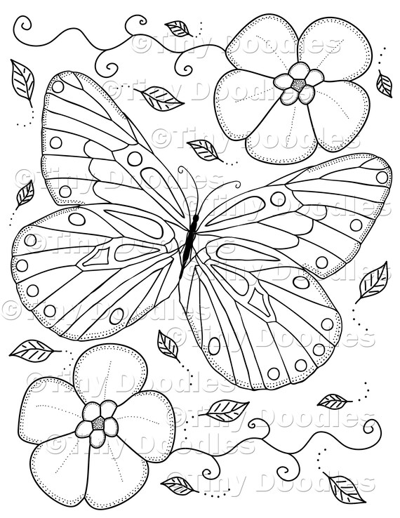 Butterfly Coloring, Adult Coloring Pages, Printable, Instant Download, PDF  Colouring Pages, Adult Printables, PDF Coloring Page, Cute