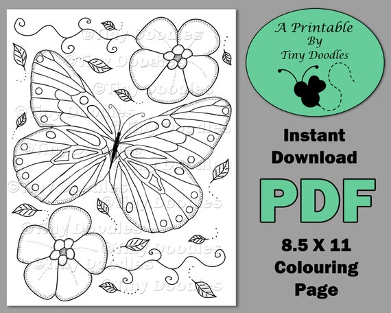Butterfly Coloring Adult Coloring Pages Printable Instant Download Pdf Colouring Pages Adult Printables Pdf Coloring Page Cute