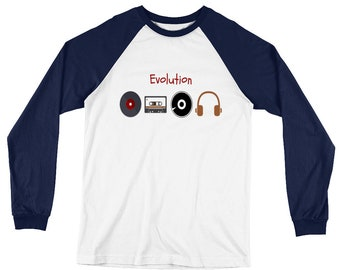 Music Evolution Long Sleeve Baseball T-Shirt