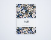 Hard Cover A5 Handmade Zero Waste Notebook Diary Journal / From Recycled and Vintage Materials / Blue Beige Floral Pattern