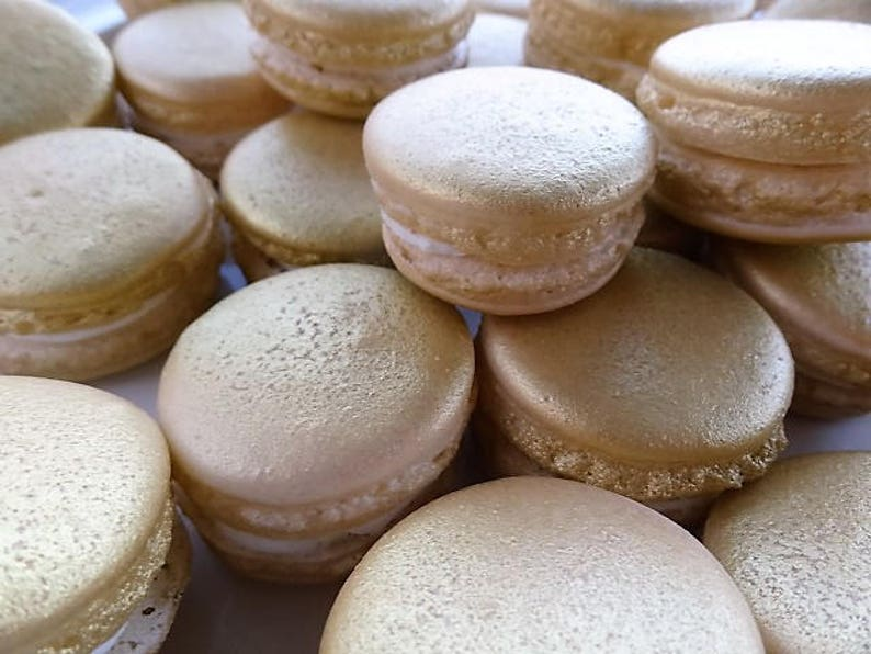 Christmas Macarons.12 Gold Gourmet French Macarons Christmas Macaroons Xmas Holidays Gluten Free Cookie Baby Shower Wedding Favor Baptism Bridal Shower Festive