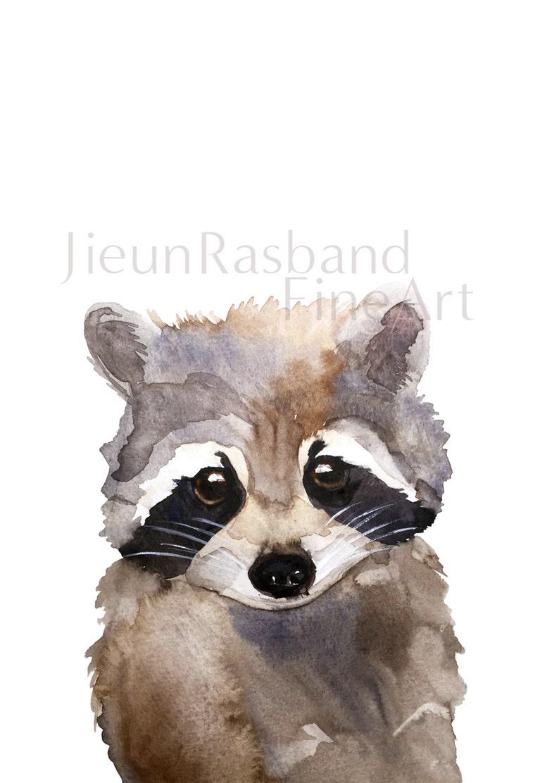 Baby Raccoon instant printanimal printable art watercolor image 0