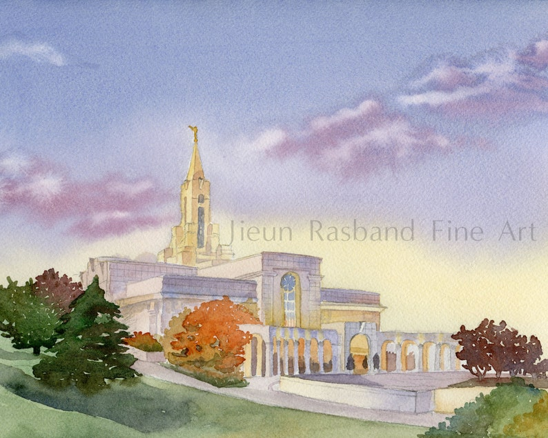Bountiful LDS Temple giclee print from original watercolor image 0
