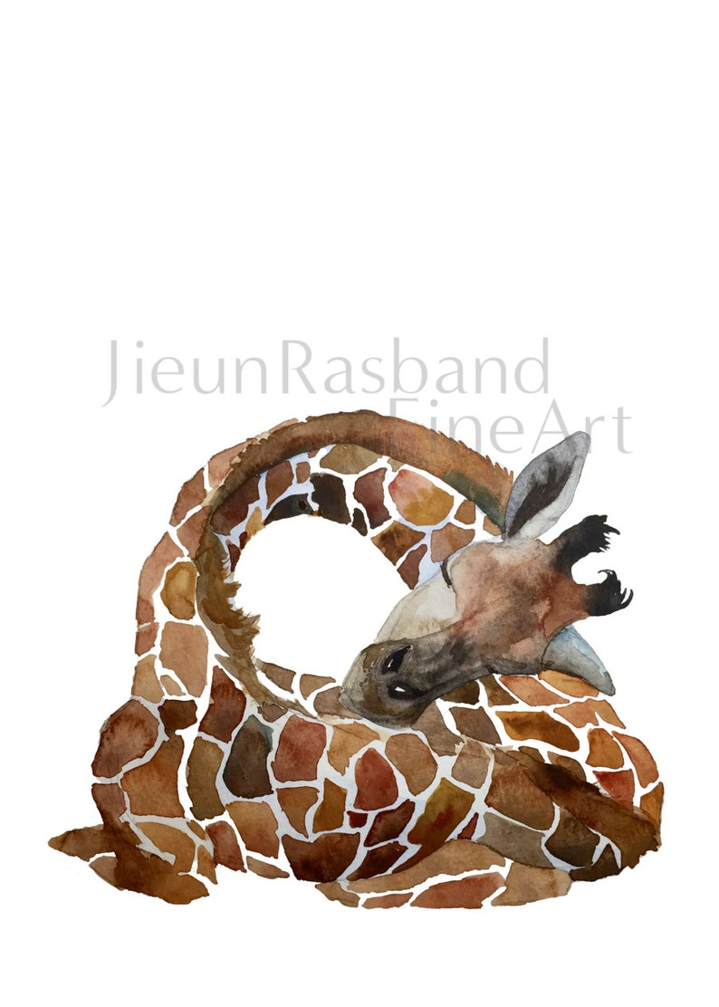 Sleeping Giraffe  Watercolor fine art giclee print nursery image 0
