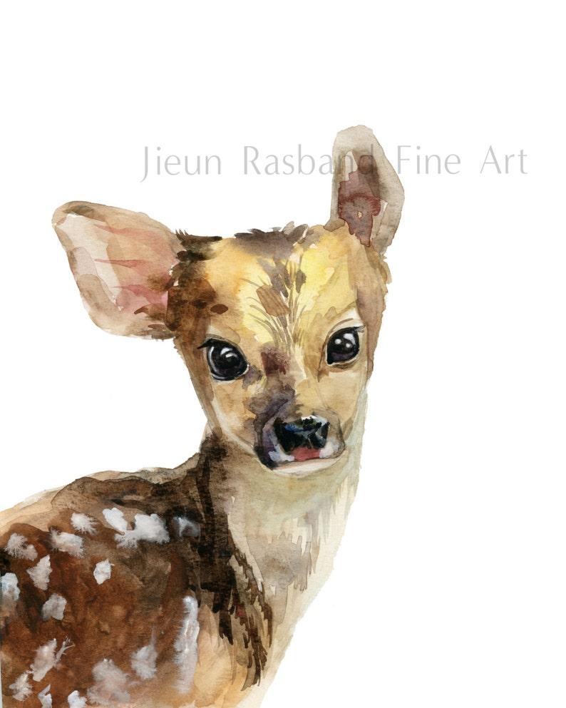 Baby Deer Original Watercolor Fine Art Print nursery decor image 0