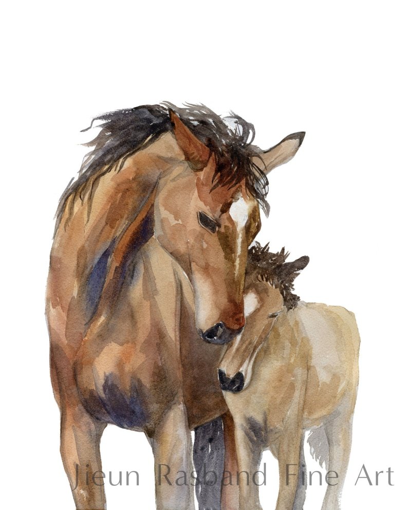 Cuddle Mom and baby horses giclee Print of original image 0