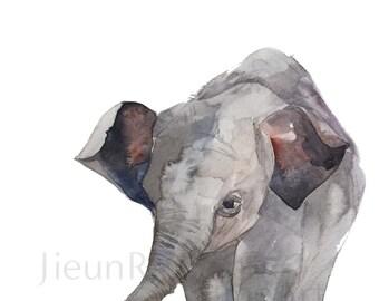 Baby Elephant painting-instant print,animal printable art, watercolor by Jieun Rasband, wall decor