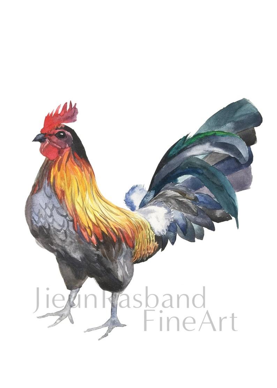 Rooster Giclee Print  Original Watercolor Fine Art Print image 0