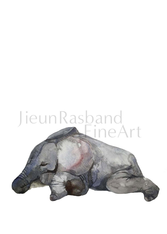Sleeping Baby elephant instant printanimal printable art image 0