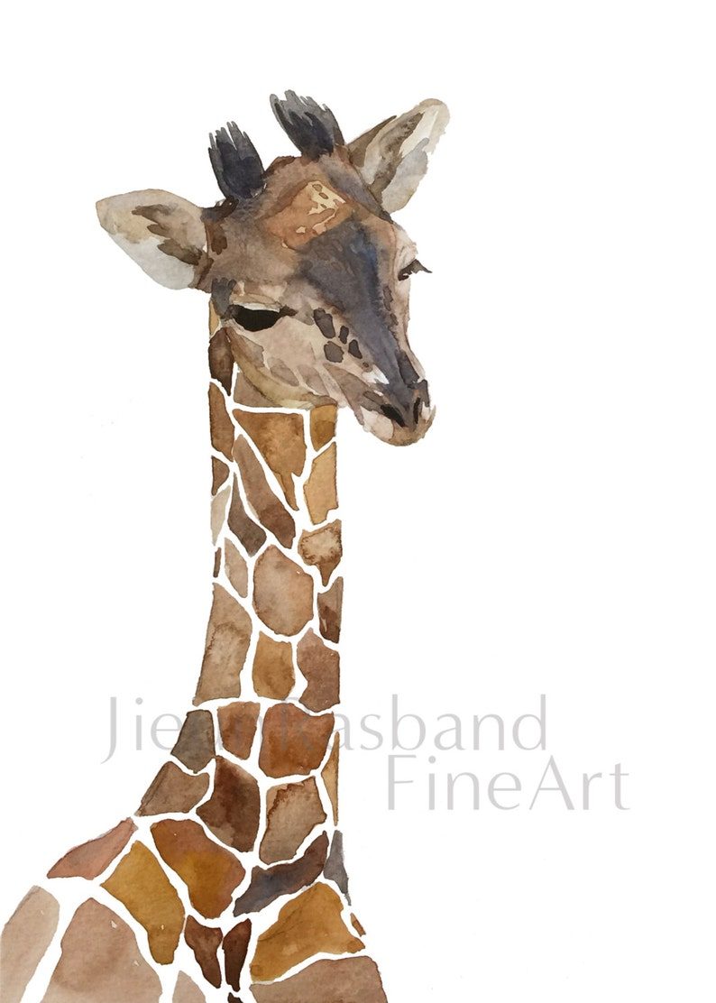 Baby Giraffe-16x20 water color  instant print image 0
