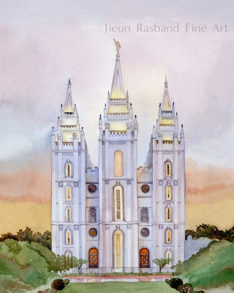 Salt Lake Temple giclee print from original watercolor image 0