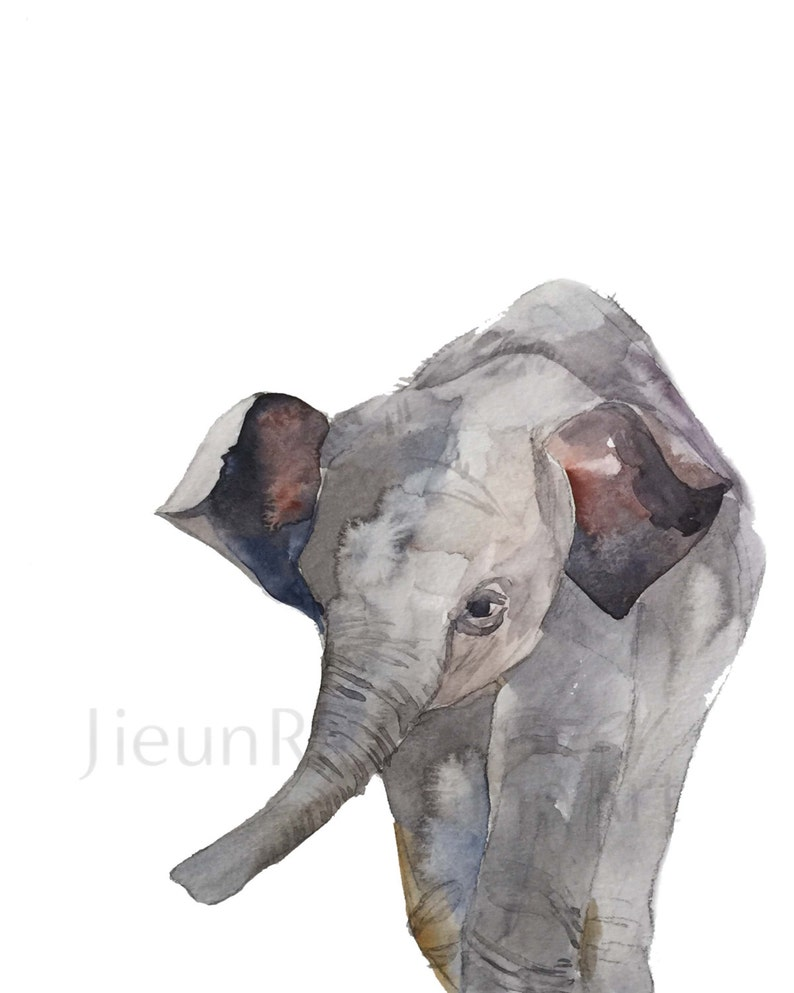 Baby Elephant giclee print of watercolor image 0