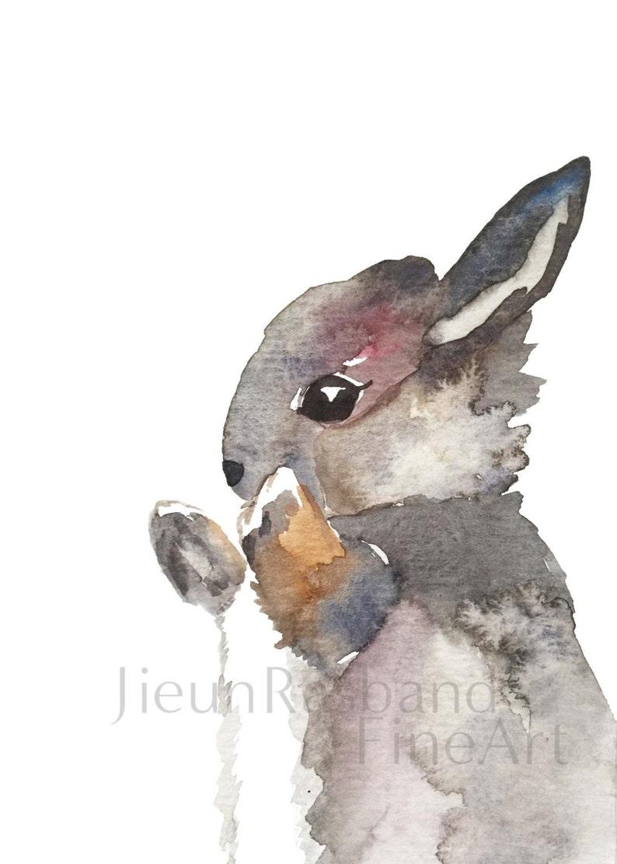 baby grey bunny Original Watercolor Fine Art Print nursery image 0