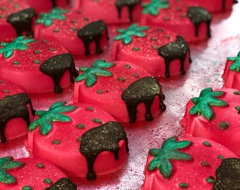 Dark Chocolate Dipped Covered Strawberry Bath Bomb Strawberries