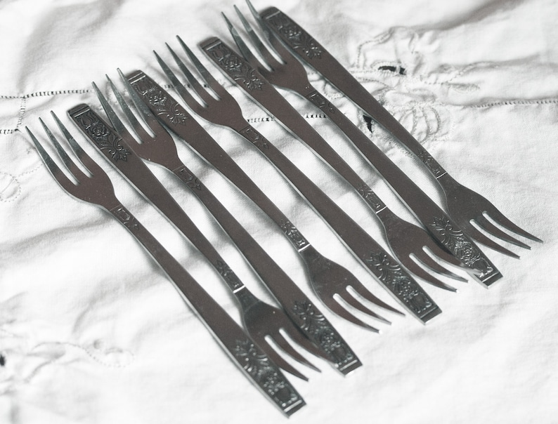 Young Rose pattern made in Korea set of 8 Imperial cocktail forks stainless steel flatware by Imperial Set of shrimp forks