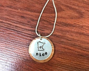 Hand Stamped Minnesota State Necklace