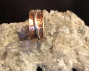 Rose Gold and fine silver or Sterling Silver Spinner Fidget Ring